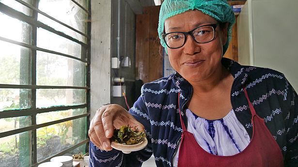 Bhawana Rai verkostet Tee. Foto: GEPA – The Fair Trade Company/A.Welsing
