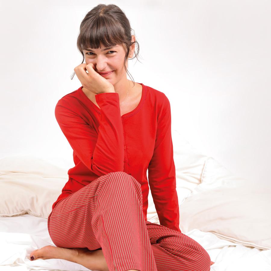 Damenpyjama rot Model 900